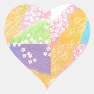 Flores de cerezo en colores pastel pegatina en forma de corazón