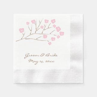 Flores de cerezo en el boda rosado servilleta desechable