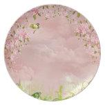 flores de cerezo en el cielo platos de comidas