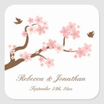 Flores de cerezo en el pegatina de la casilla blan
