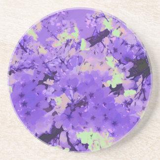Flores de cerezo en el práctico de costa violeta posavasos manualidades