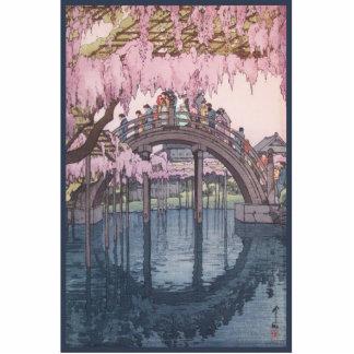 Flores de cerezo en la floración sobre el puente esculturas fotográficas