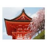 Flores de cerezo en la postal de Kiyomizudera