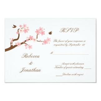 """Flores de cerezo en RSVP blanco Invitación 3.5"""" X 5"""""""