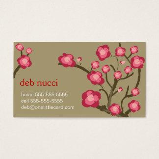Flores de cerezo en tarjeta de visita de color