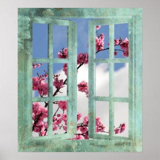 Flores de cerezo en ventana póster