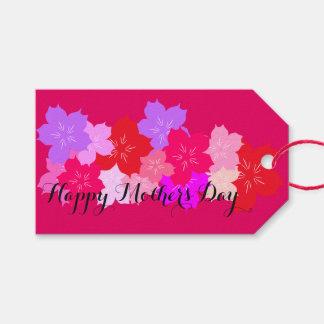 Flores de cerezo felices del día de madre etiquetas para regalos