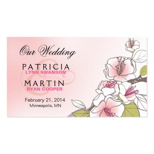 Flores de cerezo florecientes que casan rosa del W Tarjeta De Visita