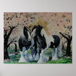 Flores de cerezo gitanas del caballo del póster