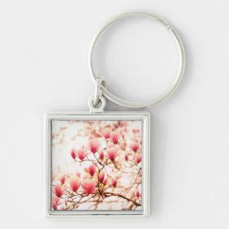 Flores de cerezo hermosas - Central Park Llavero Cuadrado Plateado