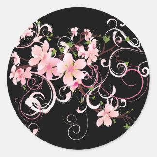 Flores de cerezo hermosas pegatinas redondas