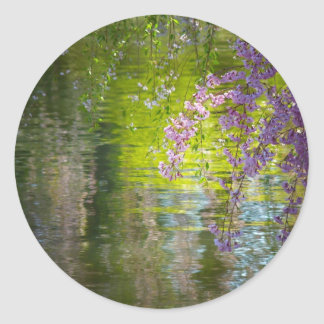 Flores de cerezo impresionistas pegatina redonda