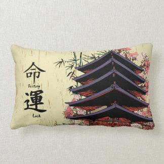 flores de cerezo japonesas de la pagoda del kanji  almohadas