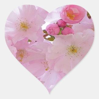 Flores de cerezo, japonesas pegatina en forma de corazón