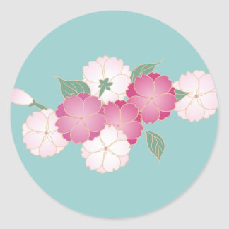 Flores de cerezo japonesas pegatina redonda
