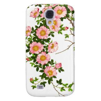 Flores de cerezo japonesas, rosa y oro del vintage funda samsung s4