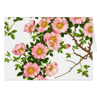 Flores de cerezo japonesas, rosa y oro del vintage tarjeta pequeña
