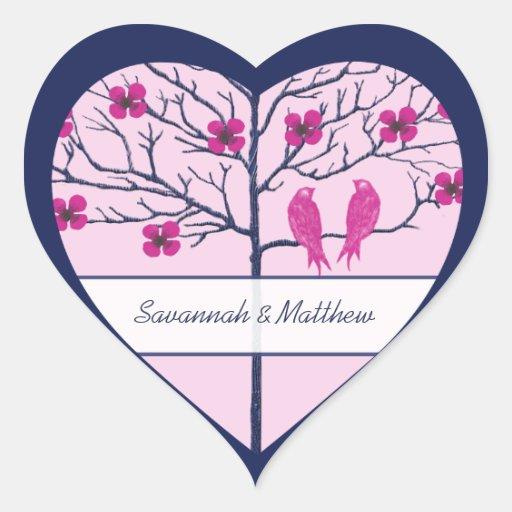 Flores de cerezo marina de guerra y pájaros del calcomania corazon personalizadas