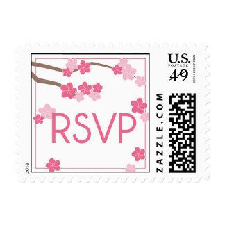Flores de cerezo modernas RSVP que casa el sello