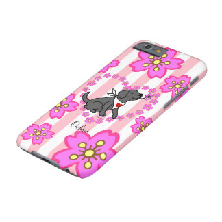 Flores de cerezo negras personalizadas de Labrador Funda Barely There iPhone 6