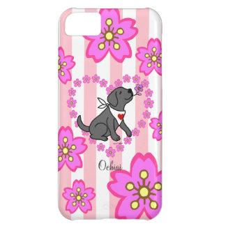 Flores de cerezo negras personalizadas de Labrador Funda iPhone 5C