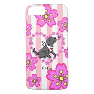 Flores de cerezo negras personalizadas de Labrador Funda iPhone 7