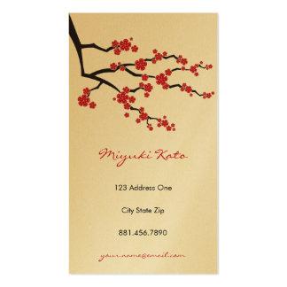 Flores de cerezo orientales rojas del asiático del tarjeta de visita