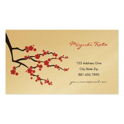 Flores de cerezo orientales rojas del asiático del tarjetas de visita