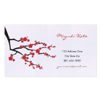 Flores de cerezo orientales rojas del asiático del plantillas de tarjetas personales