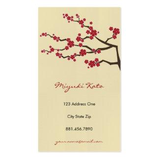 Flores de cerezo orientales rojas del zen de Sakur Plantilla De Tarjeta De Negocio