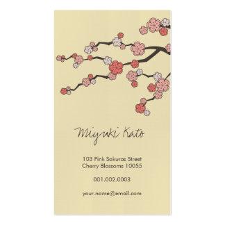 Flores de cerezo orientales rosadas del chino del  plantillas de tarjetas personales
