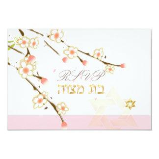 """Flores de cerezo/palo Mitzvah del rosa del rsvp de Invitación 3.5"""" X 5"""""""
