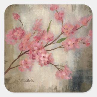 Flores de cerezo pegatina cuadrada