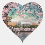 Flores de cerezo pegatina en forma de corazón