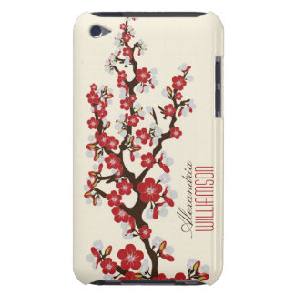 Flores de cerezo preciosas (rojas) iPod touch protector