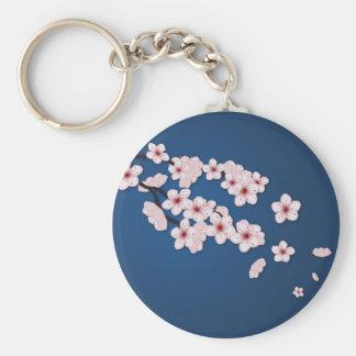 Flores de cerezo que caen llavero redondo tipo pin