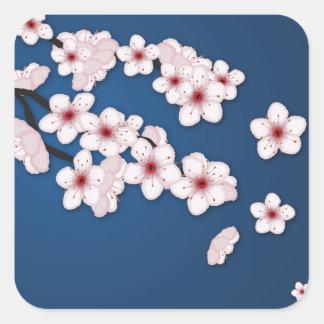 Flores de cerezo que caen pegatina cuadrada