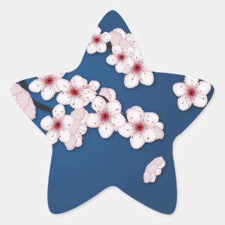 Flores de cerezo que caen pegatina en forma de estrella