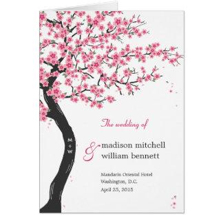 Flores de cerezo que casan la tarjeta de programa