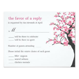 Flores de cerezo que casan la tarjeta de RSVP Invitación 10,8 X 13,9 Cm