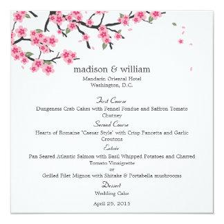 """Flores de cerezo que casan la tarjeta del menú invitación 5.25"""" x 5.25"""""""