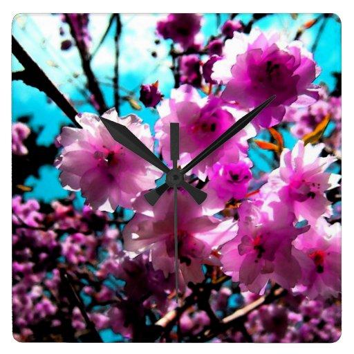Flores de cerezo reloj cuadrado