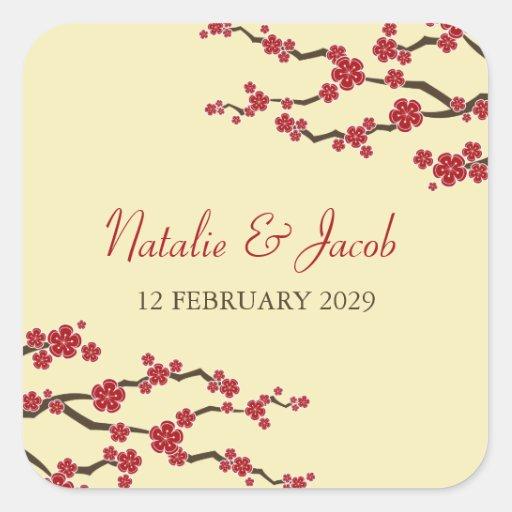 Flores de cerezo rojas de Sakura que casan al Pegatina Cuadradas Personalizada