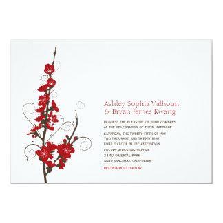 flores de cerezo rojas del fatfatin que casan la invitación personalizada