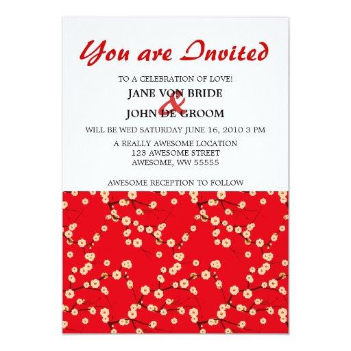 Flores de cerezo rojas y blancas invitación personalizada