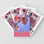 Flores de cerezo rosadas cones monograma de Yokoha Barajas De Cartas