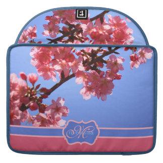 Flores de cerezo rosadas cones monograma de Yokoha Funda Macbook Pro
