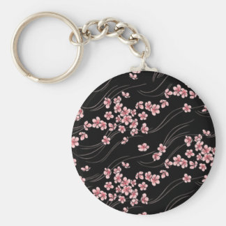 Flores de cerezo rosadas en negro llavero redondo tipo pin