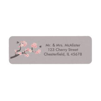 Flores de cerezo rosadas/etiqueta de dirección gri