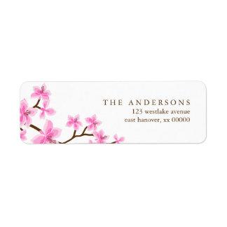 Flores de cerezo rosadas etiqueta de remite
